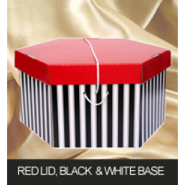 Red Lid Black and White Base Hatboxes