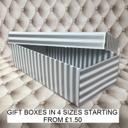 Flower Gift Box Silver and White