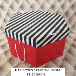 Black and White Lid, Red Base Hatboxes