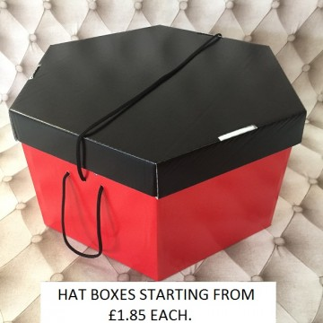 Black Lid, Red Base Hatboxes