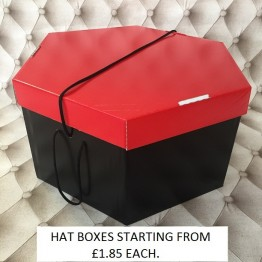 Red Lid, Black Base Hatboxes